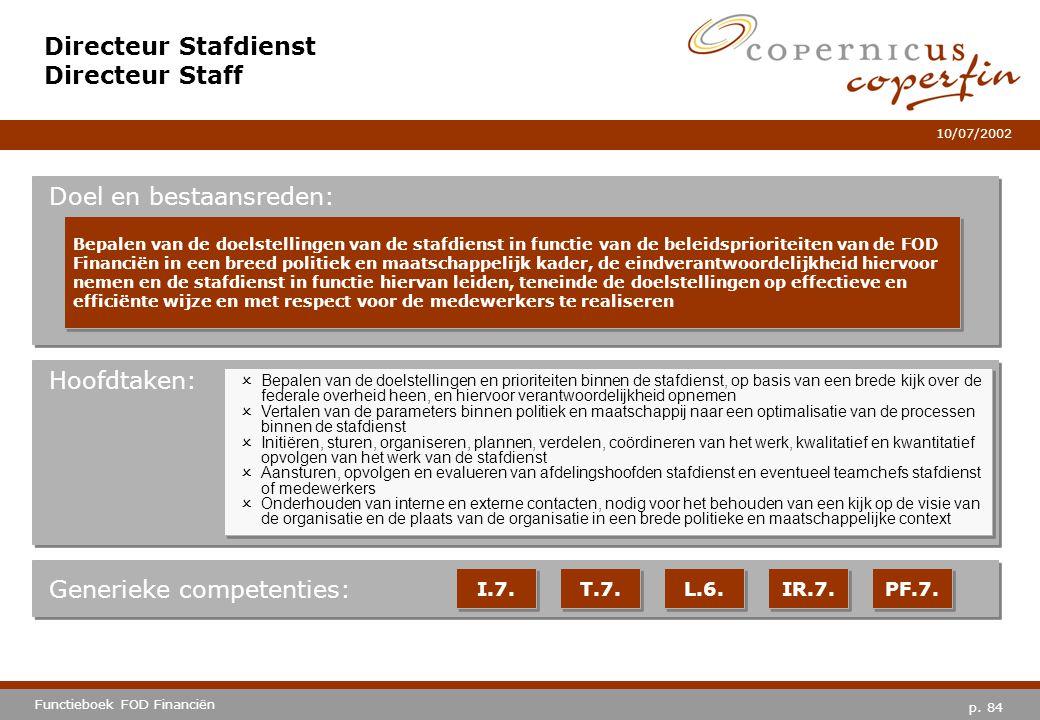 p. 84 Functieboek FOD Financiën 10/07/2002 Hoofdtaken: Generieke competenties: I.7. T.7. IR.7. PF.7. Directeur Stafdienst Directeur Staff Doel en best