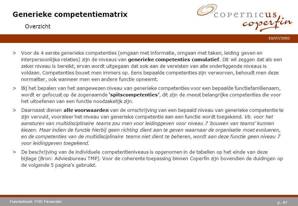 p. 87 Functieboek FOD Financiën 10/07/2002 Generieke competentiematrix >Voor de 4 eerste generieke competenties (omgaan met informatie, omgaan met tak
