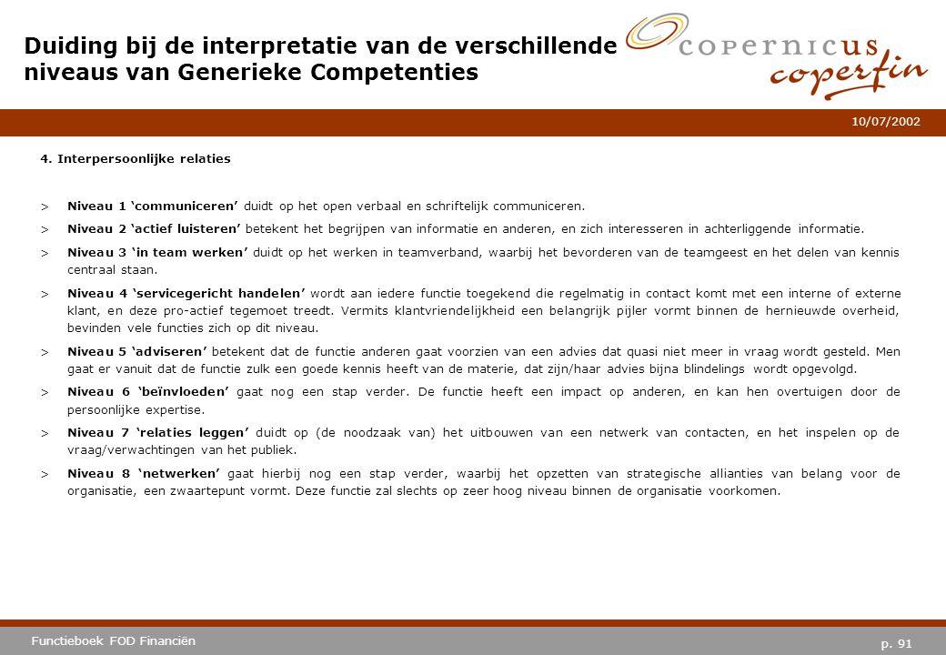 p. 91 Functieboek FOD Financiën 10/07/2002 4. Interpersoonlijke relaties >Niveau 1 'communiceren' duidt op het open verbaal en schriftelijk communicer