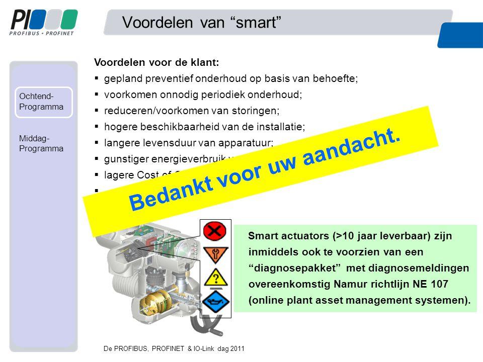 """Met mede- werking van... Ochtend- Programma Fabriek Middag- programma Voordelen van """"smart"""" De PROFIBUS, PROFINET & IO-Link dag 2011 Voordelen voor de"""