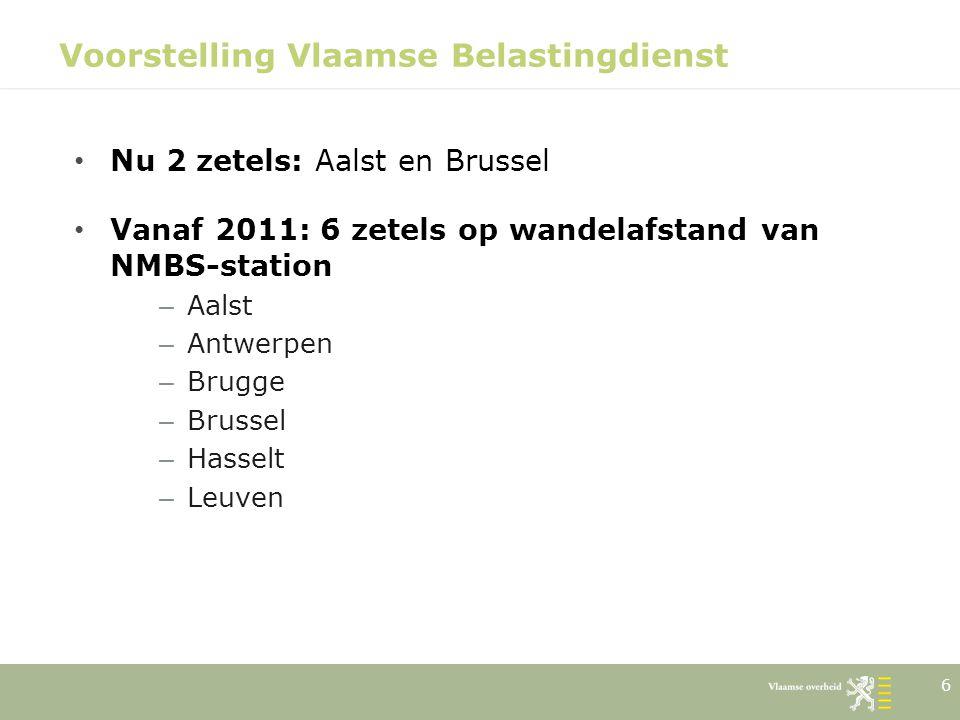17 Voorstelling Vlaamse Belastingdienst Stafdienst ondersteunt leidend ambtenaar o.a.