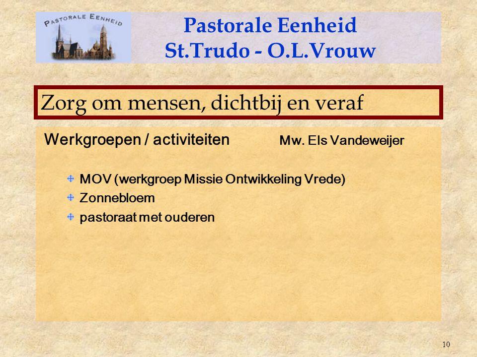 Werkgroepen / activiteiten Mw. Els Vandeweijer MOV (werkgroep Missie Ontwikkeling Vrede) Zonnebloem pastoraat met ouderen Pastorale Eenheid St.Trudo -