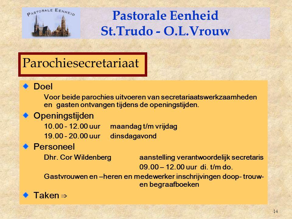 Doel Voor beide parochies uitvoeren van secretariaatswerkzaamheden en gasten ontvangen tijdens de openingstijden. Openingstijden 10.00 - 12.00 uurmaan