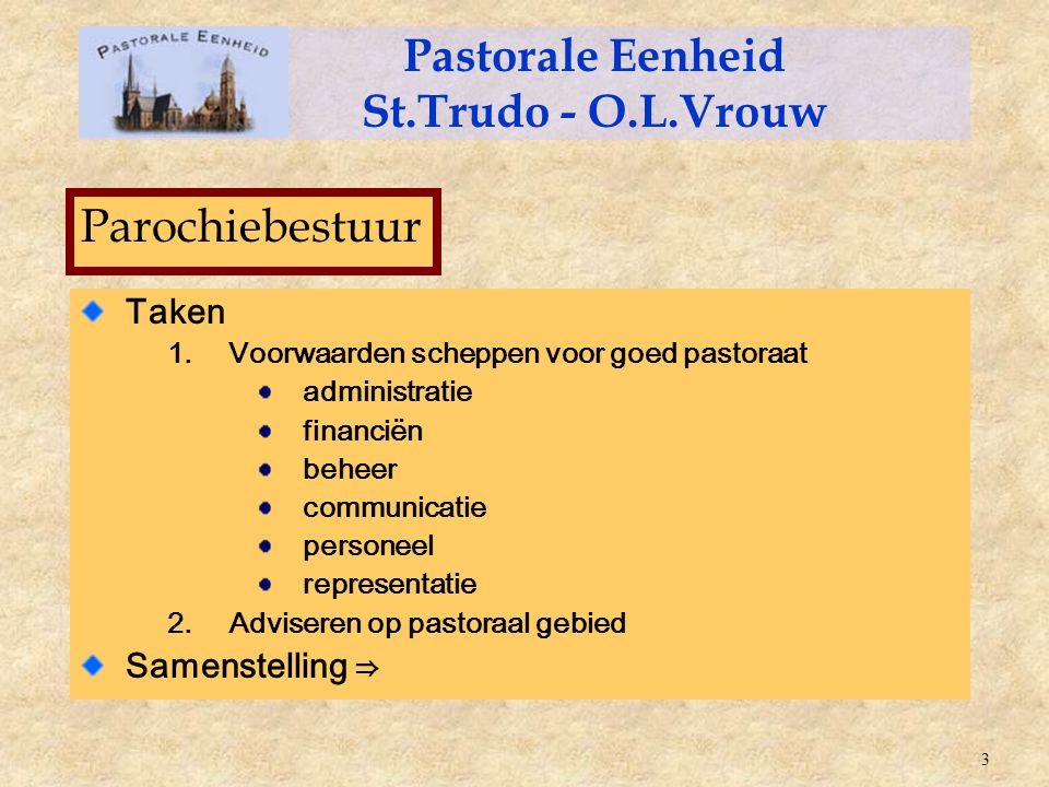 Taken 1.Voorwaarden scheppen voor goed pastoraat administratie financiën beheer communicatie personeel representatie 2.Adviseren op pastoraal gebied S