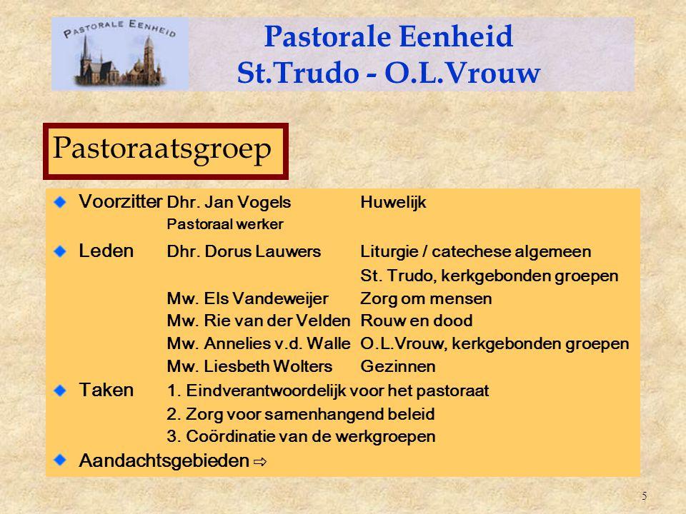 Voorzitter Dhr. Jan VogelsHuwelijk Pastoraal werker Leden Dhr. Dorus LauwersLiturgie / catechese algemeen St. Trudo, kerkgebonden groepen Mw. Els Vand