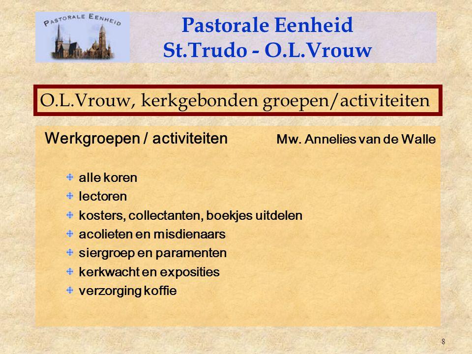 Werkgroepen / activiteiten Mw. Annelies van de Walle alle koren lectoren kosters, collectanten, boekjes uitdelen acolieten en misdienaars siergroep en