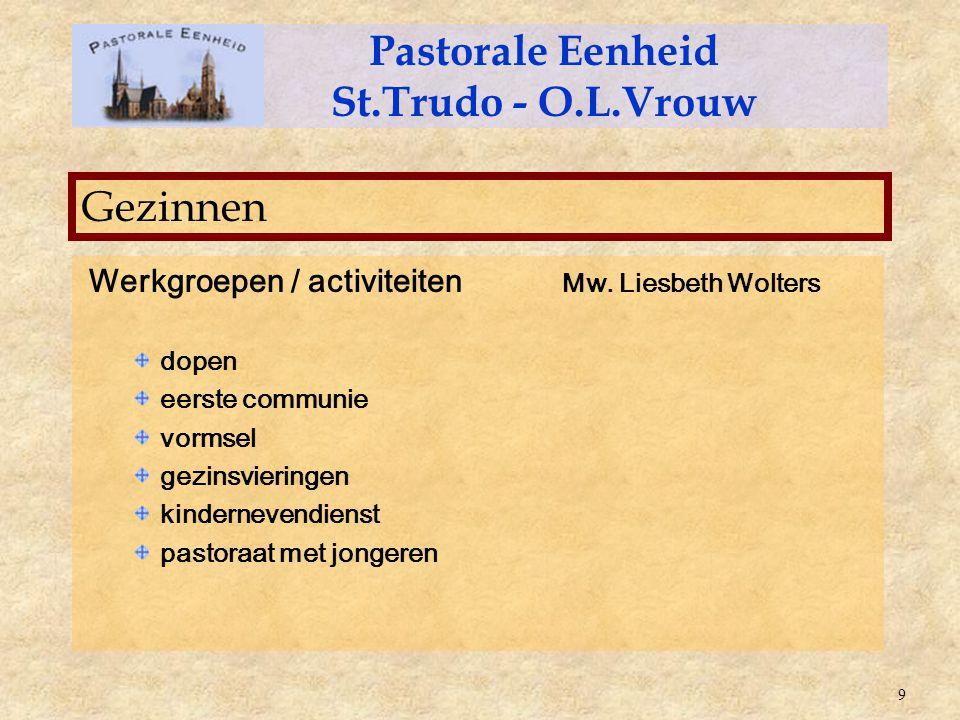 Werkgroepen / activiteiten Mw. Liesbeth Wolters dopen eerste communie vormsel gezinsvieringen kindernevendienst pastoraat met jongeren Pastorale Eenhe