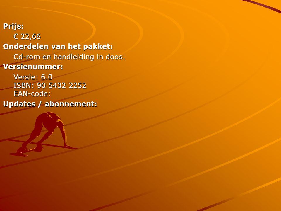 Prijs: € 22,66 Onderdelen van het pakket: Cd-rom en handleiding in doos. Versienummer: Versie: 6.0 ISBN: 90 5432 2252 EAN-code: Updates / abonnement: