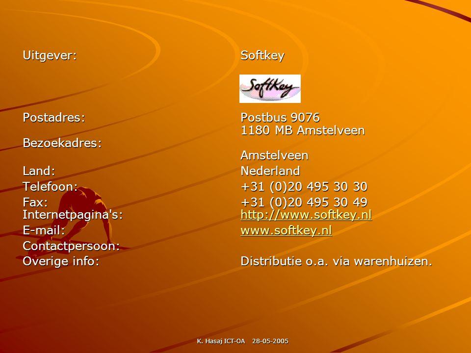 Uitgever:Softkey Postadres:Postbus 9076 1180 MB Amstelveen Bezoekadres: Amstelveen Land:Nederland Telefoon:+31 (0)20 495 30 30 Fax:+31 (0)20 495 30 49