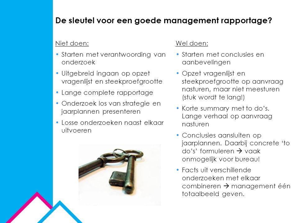 De sleutel voor een goede management rapportage? Niet doen: Starten met verantwoording van onderzoek Uitgebreid ingaan op opzet vragenlijst en steekpr