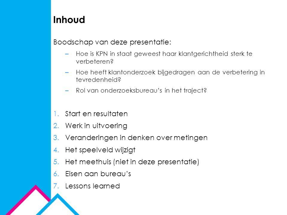 Inhoud Boodschap van deze presentatie: – Hoe is KPN in staat geweest haar klantgerichtheid sterk te verbeteren? – Hoe heeft klantonderzoek bijgedragen