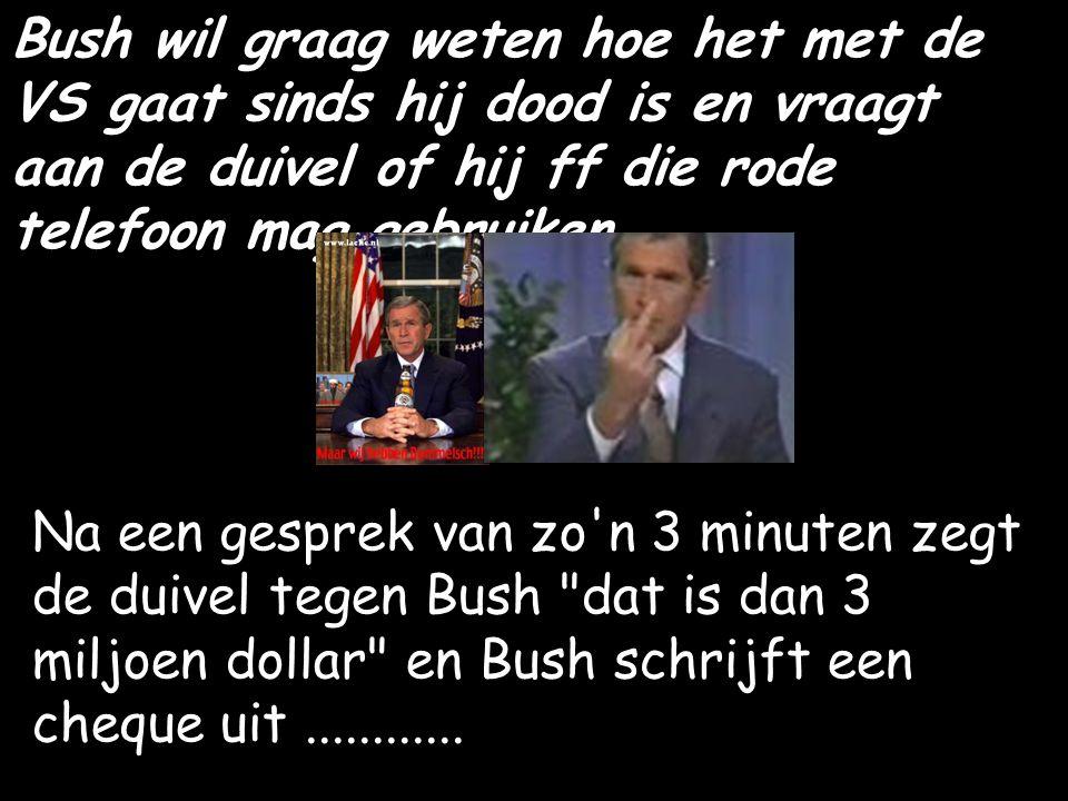 Bush wil graag weten hoe het met de VS gaat sinds hij dood is en vraagt aan de duivel of hij ff die rode telefoon mag gebruiken.