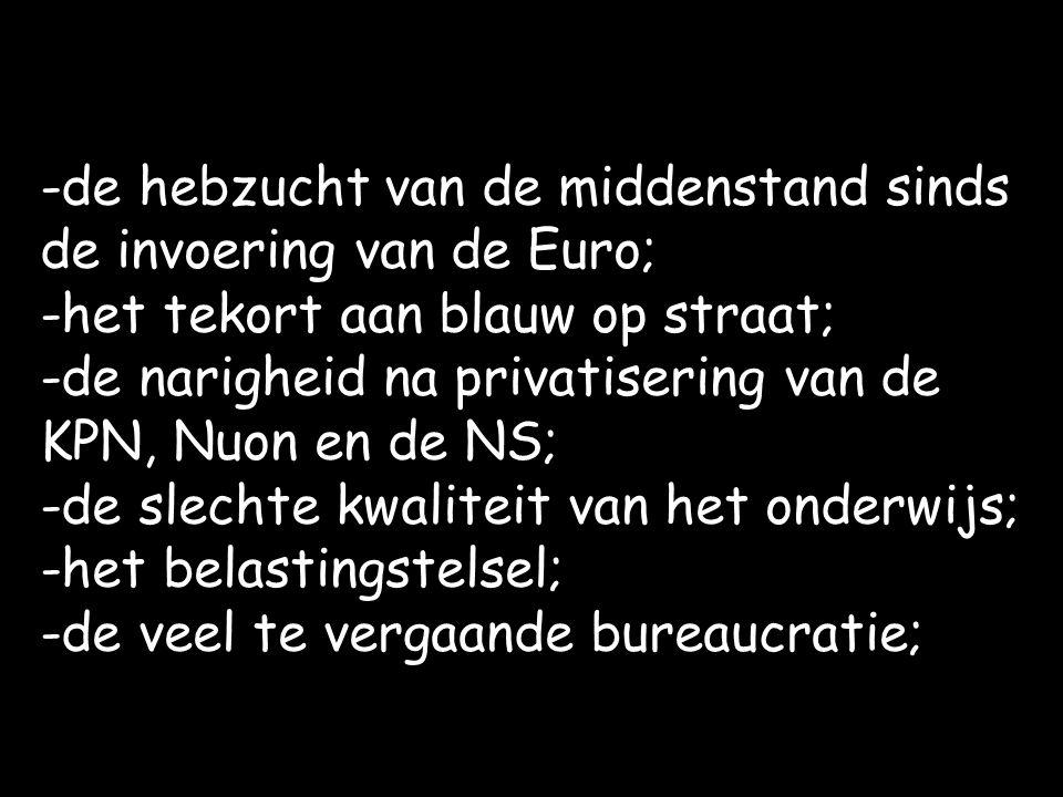 -de hebzucht van de middenstand sinds de invoering van de Euro; -het tekort aan blauw op straat; -de narigheid na privatisering van de KPN, Nuon en de NS; -de slechte kwaliteit van het onderwijs; -het belastingstelsel; -de veel te vergaande bureaucratie;