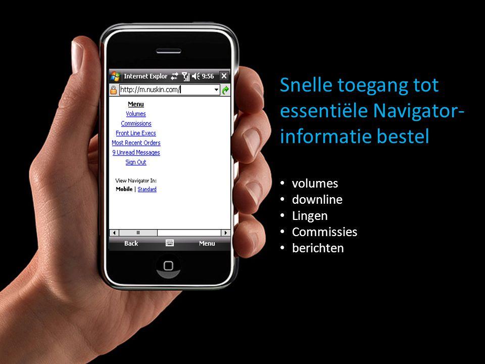 Snelle toegang tot essentiële Navigator- informatie bestel volumes downline Lingen Commissies berichten