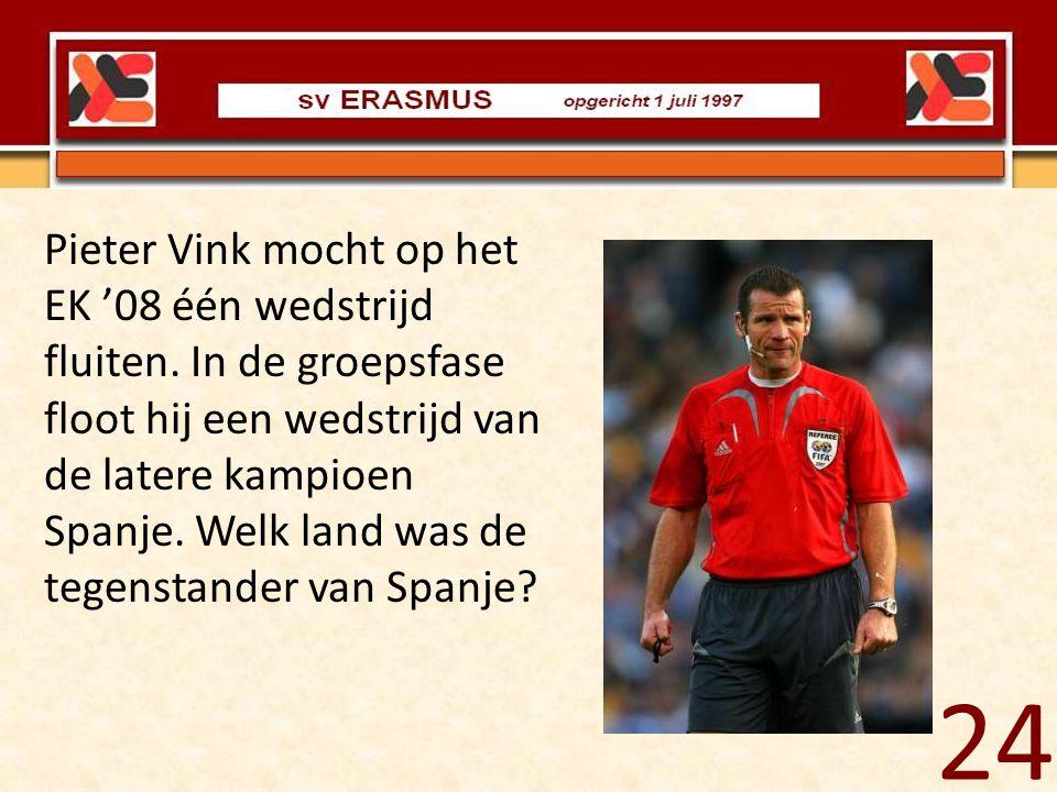 Pieter Vink mocht op het EK '08 één wedstrijd fluiten. In de groepsfase floot hij een wedstrijd van de latere kampioen Spanje. Welk land was de tegens