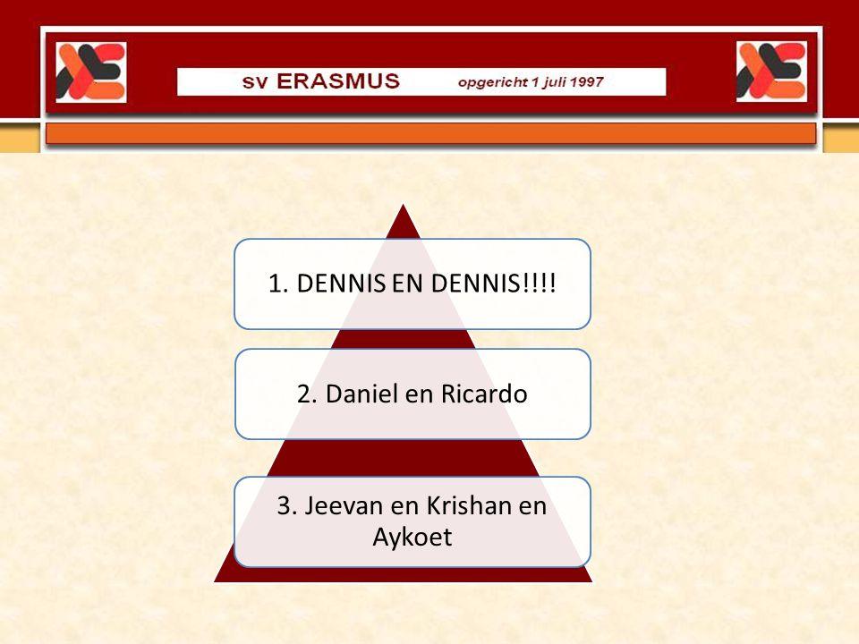 3. Jeevan en Krishan en Aykoet 2. Daniel en Ricardo1. DENNIS EN DENNIS!!!!