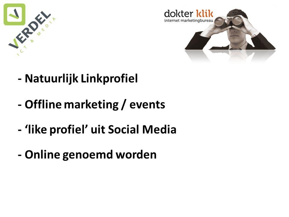- Natuurlijk Linkprofiel - Offline marketing / events - 'like profiel' uit Social Media - Online genoemd worden