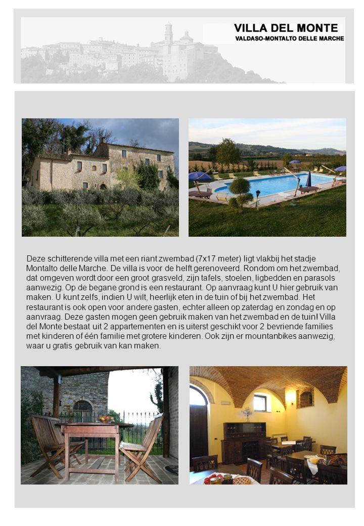 Deze schitterende villa met een riant zwembad (7x17 meter) ligt vlakbij het stadje Montalto delle Marche. De villa is voor de helft gerenoveerd. Rondo