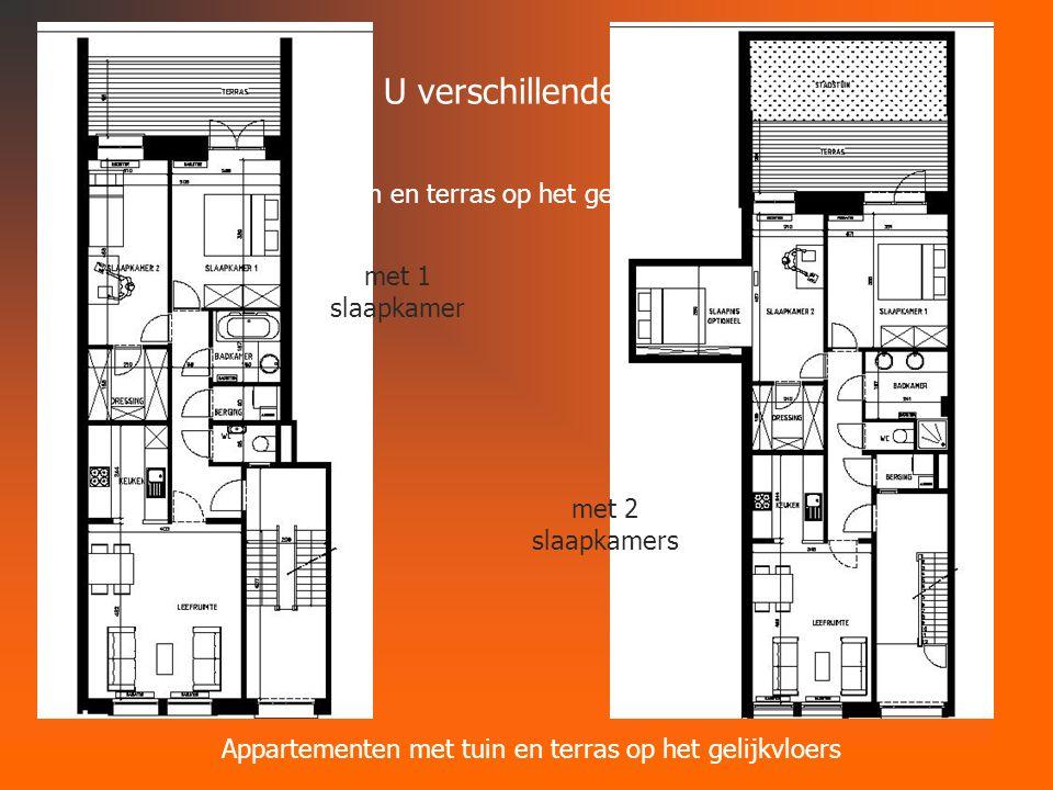 Dit project biedt U verschillende mogelijkheden Appartementen met tuin en terras op het gelijkvloers met 1 slaapkamer met 2 slaapkamers Appartementen met tuin en terras op het gelijkvloers