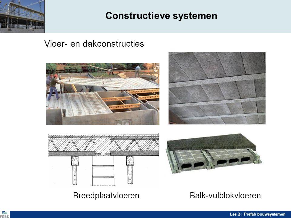 Les 2 : Prefab-bouwsystemen Constructieve systemen Vloer- en dakconstructies BreedplaatvloerenBalk-vulblokvloeren