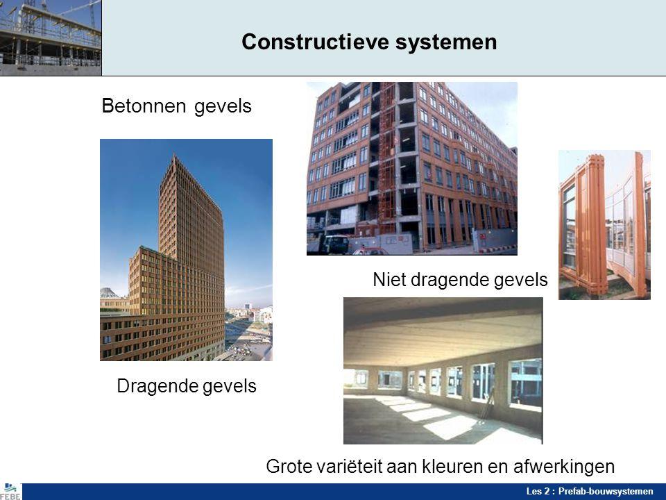 Les 2 : Prefab-bouwsystemen Constructieve systemen Betonnen gevels Niet dragende gevels Dragende gevels Grote variëteit aan kleuren en afwerkingen