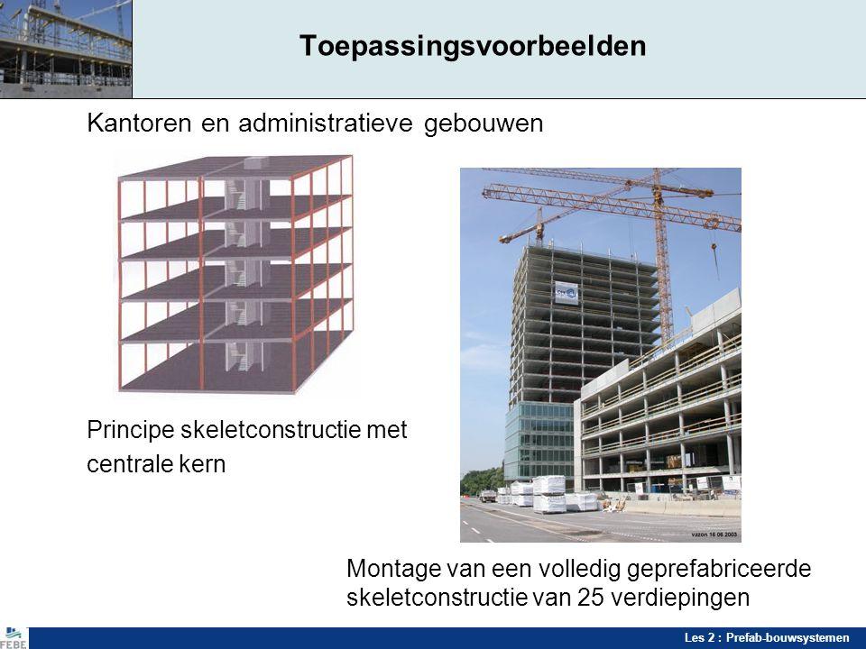 Les 2 : Prefab-bouwsystemen Toepassingsvoorbeelden Kantoren en administratieve gebouwen Principe skeletconstructie met centrale kern Montage van een v