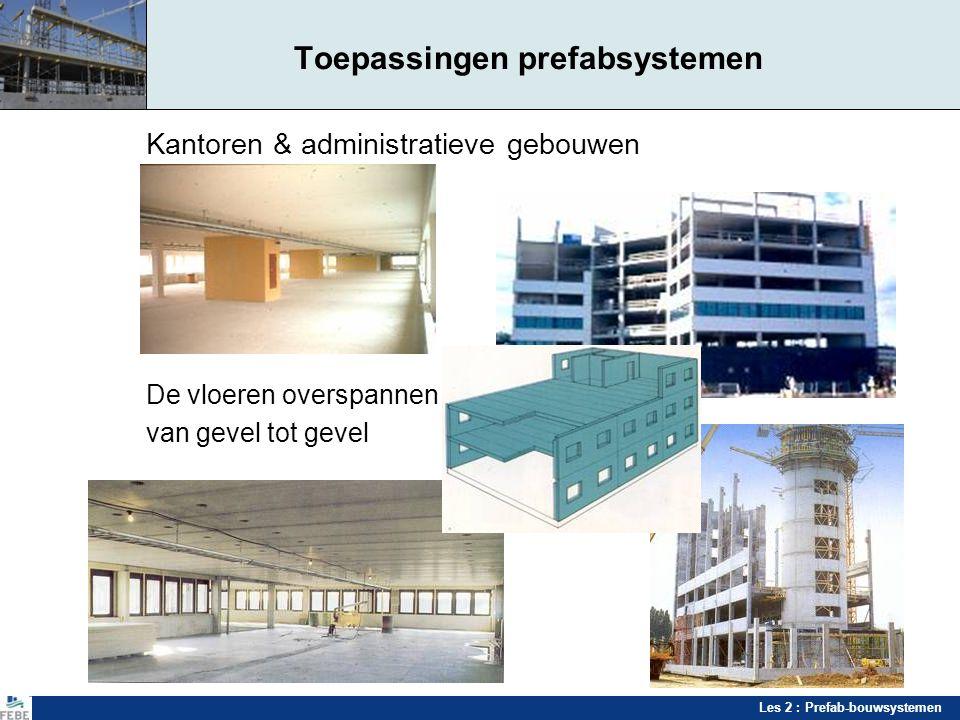 Les 2 : Prefab-bouwsystemen Toepassingen prefabsystemen Kantoren & administratieve gebouwen De vloeren overspannen van gevel tot gevel