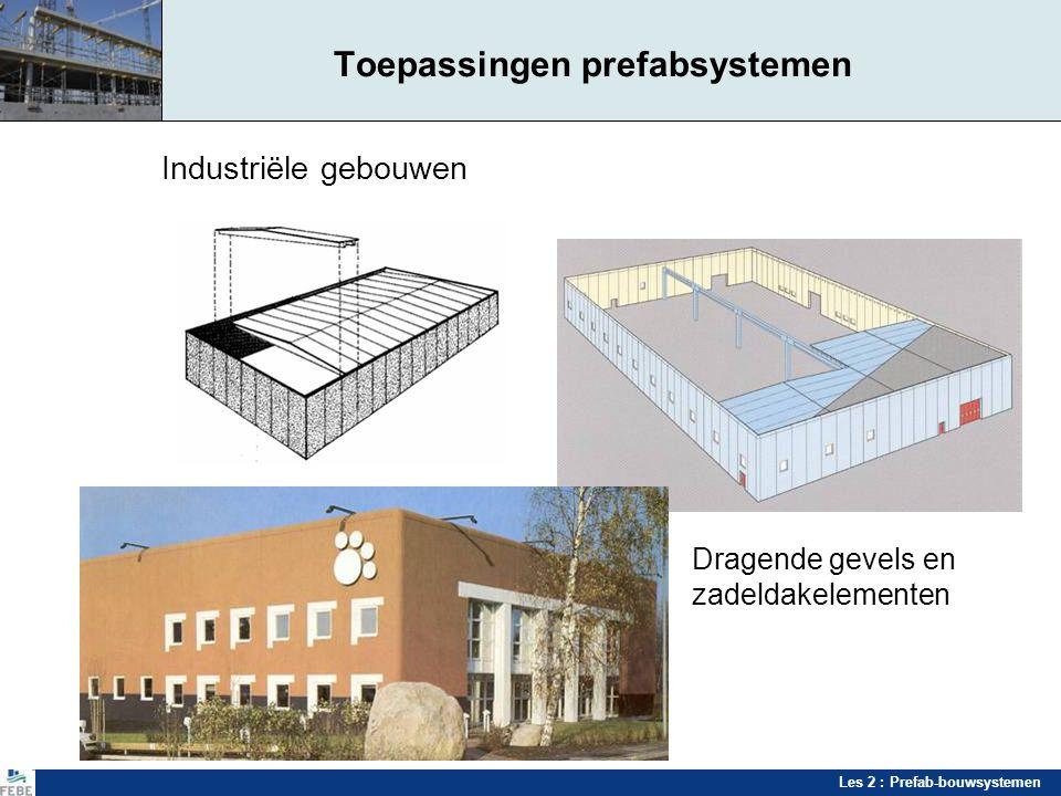Les 2 : Prefab-bouwsystemen Toepassingen prefabsystemen Industriële gebouwen Dragende gevels en zadeldakelementen