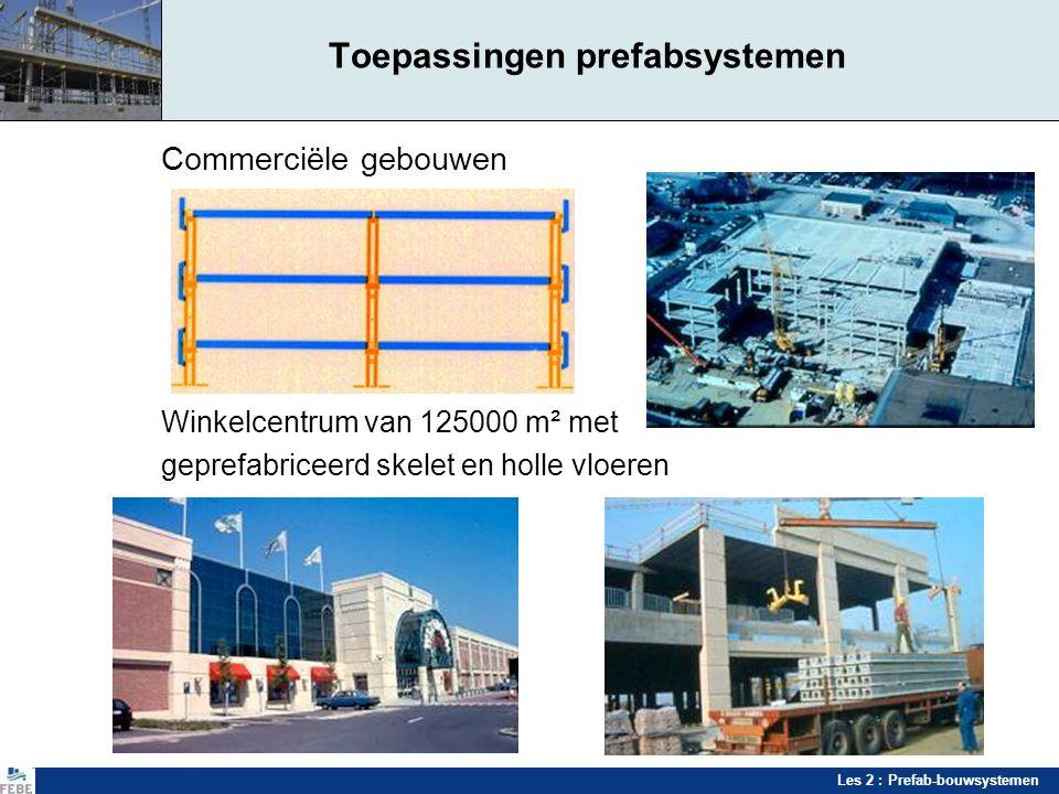 Les 2 : Prefab-bouwsystemen Toepassingen prefabsystemen Commerciële gebouwen Winkelcentrum van 125000 m² met geprefabriceerd skelet en holle vloeren