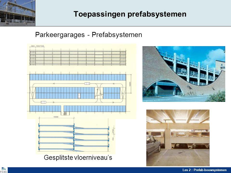 Les 2 : Prefab-bouwsystemen Toepassingen prefabsystemen Parkeergarages - Prefabsystemen Gesplitste vloerniveau's