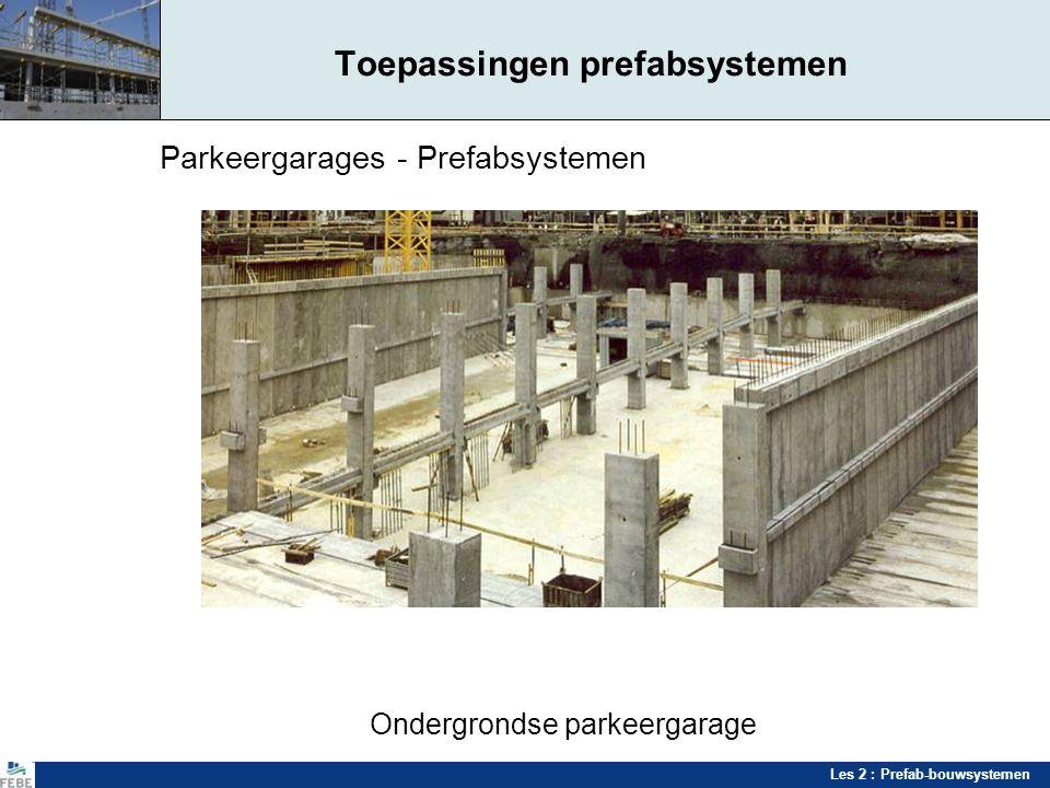 Les 2 : Prefab-bouwsystemen Parkeergarages - Prefabsystemen Ondergrondse parkeergarage Toepassingen prefabsystemen