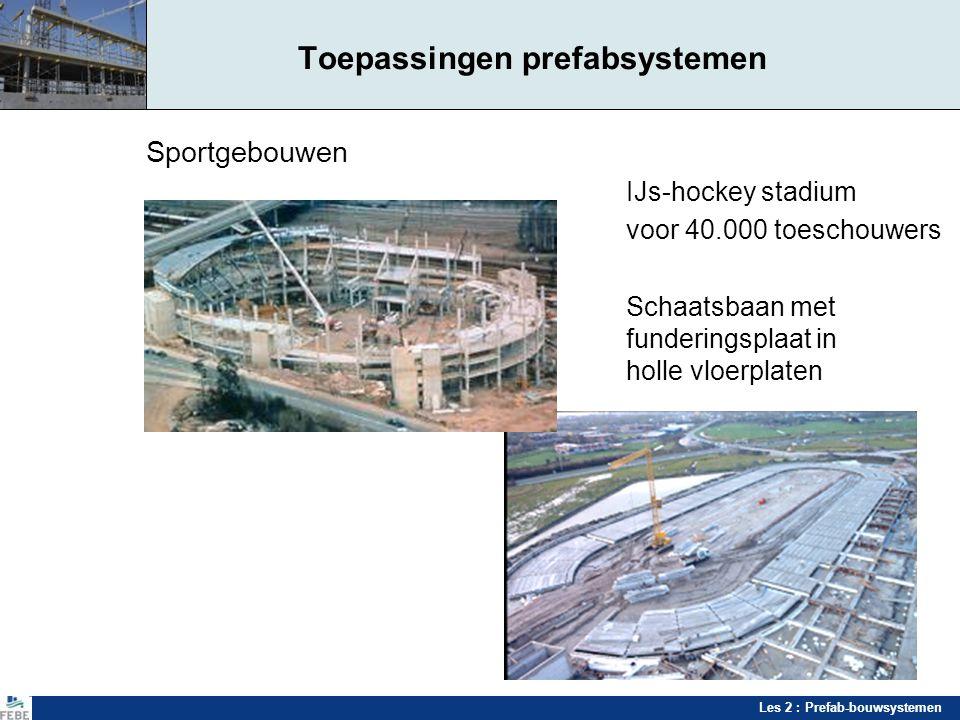 Les 2 : Prefab-bouwsystemen Toepassingen prefabsystemen Sportgebouwen IJs-hockey stadium voor 40.000 toeschouwers Schaatsbaan met funderingsplaat in h