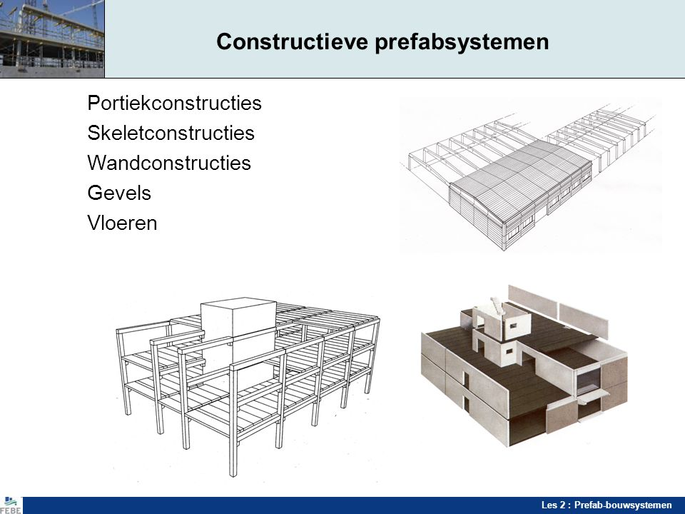 Les 2 : Prefab-bouwsystemen Constructieve prefabsystemen Portiekconstructies Skeletconstructies Wandconstructies Gevels Vloeren