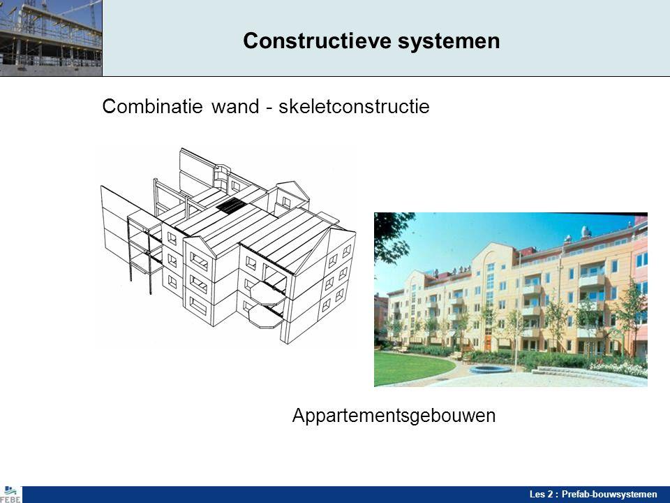 Les 2 : Prefab-bouwsystemen Constructieve systemen Combinatie wand - skeletconstructie Appartementsgebouwen