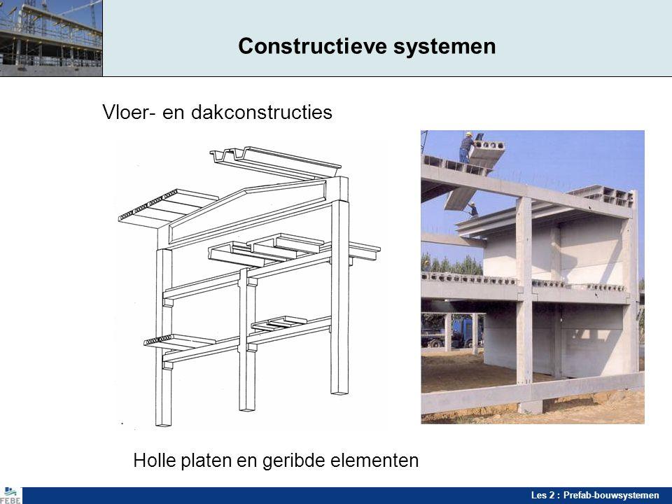 Les 2 : Prefab-bouwsystemen Constructieve systemen Vloer- en dakconstructies Holle platen en geribde elementen