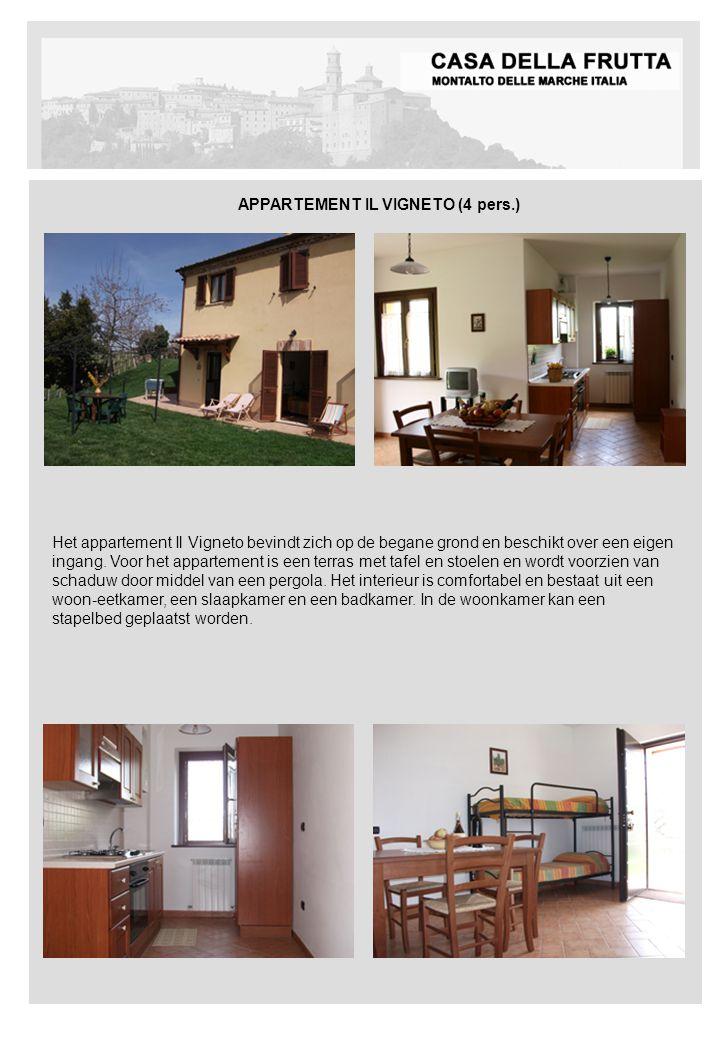 APPARTEMENT IL VIGNETO (4 pers.) Het appartement Il Vigneto bevindt zich op de begane grond en beschikt over een eigen ingang.