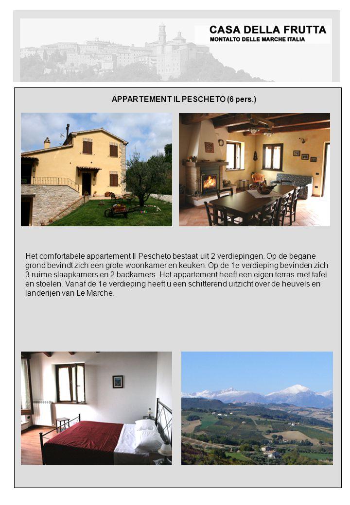 APPARTEMENT IL PESCHETO (6 pers.) Meerdere foto´s volgen Het comfortabele appartement Il Pescheto bestaat uit 2 verdiepingen.