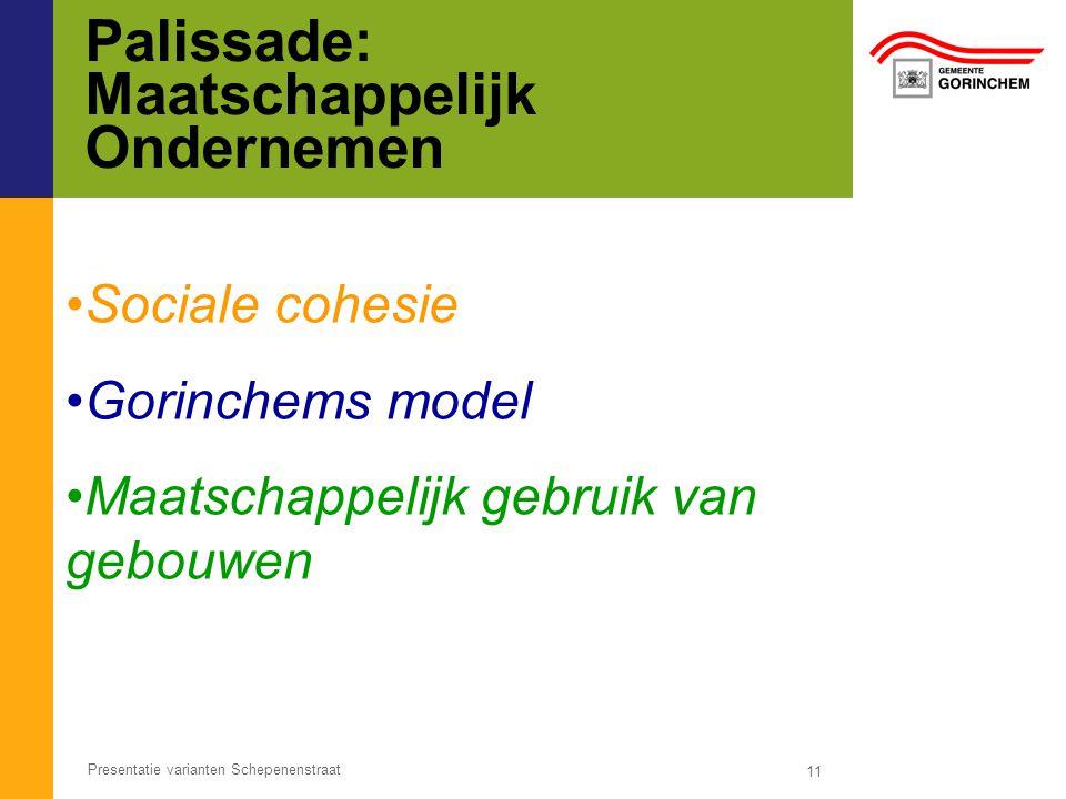 Palissade: Maatschappelijk Ondernemen 11 Presentatie varianten Schepenenstraat Sociale cohesie Gorinchems model Maatschappelijk gebruik van gebouwen
