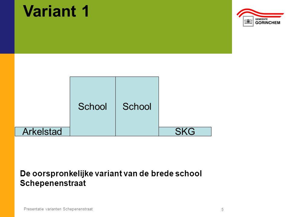 Variant 1 5 Presentatie varianten Schepenenstraat School De oorspronkelijke variant van de brede school Schepenenstraat ArkelstadSKG