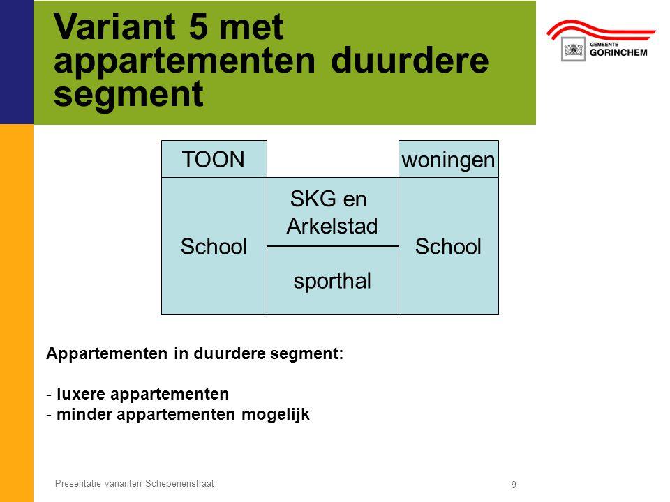 Variant 5 met appartementen duurdere segment 9 Presentatie varianten Schepenenstraat School SKG en Arkelstad sporthal Appartementen in duurdere segment: - luxere appartementen - minder appartementen mogelijk TOON woningen