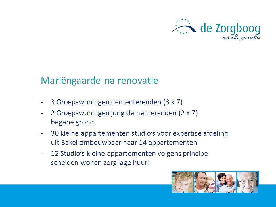 Mariëngaarde na renovatie -3 Groepswoningen dementerenden (3 x 7) -2 Groepswoningen jong dementerenden (2 x 7) begane grond -30 kleine appartementen s