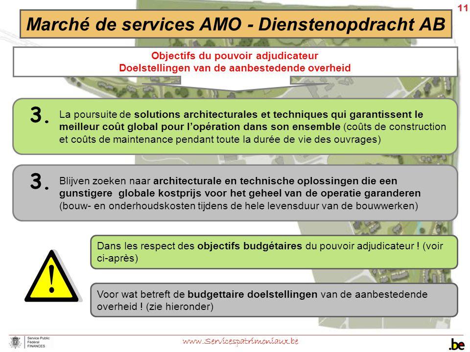 11 www.Servicespatrimoniaux.be Marché de services AMO - Dienstenopdracht AB Objectifs du pouvoir adjudicateur Doelstellingen van de aanbestedende over