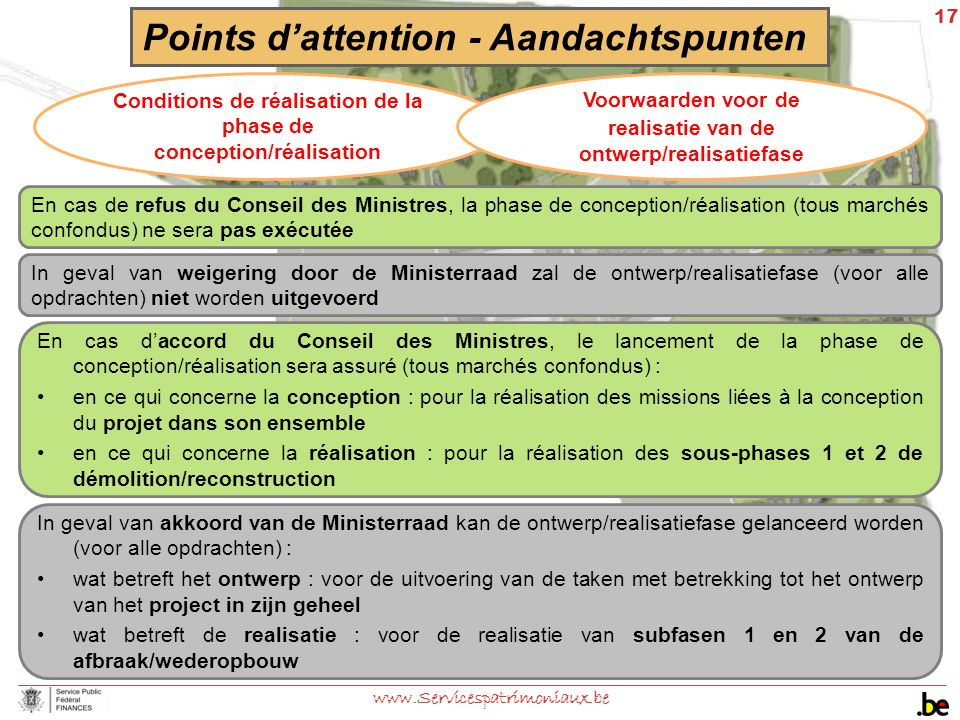 17 www.Servicespatrimoniaux.be Points d'attention - Aandachtspunten Conditions de réalisation de la phase de conception/réalisation Voorwaarden voor d