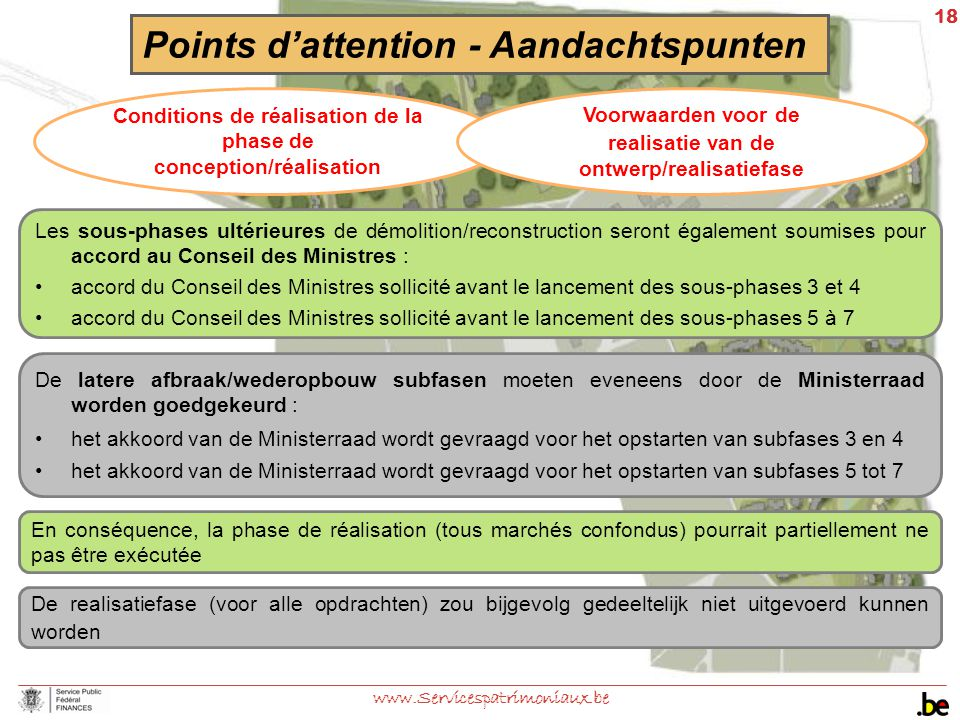 18 www.Servicespatrimoniaux.be Points d'attention - Aandachtspunten Conditions de réalisation de la phase de conception/réalisation Voorwaarden voor d