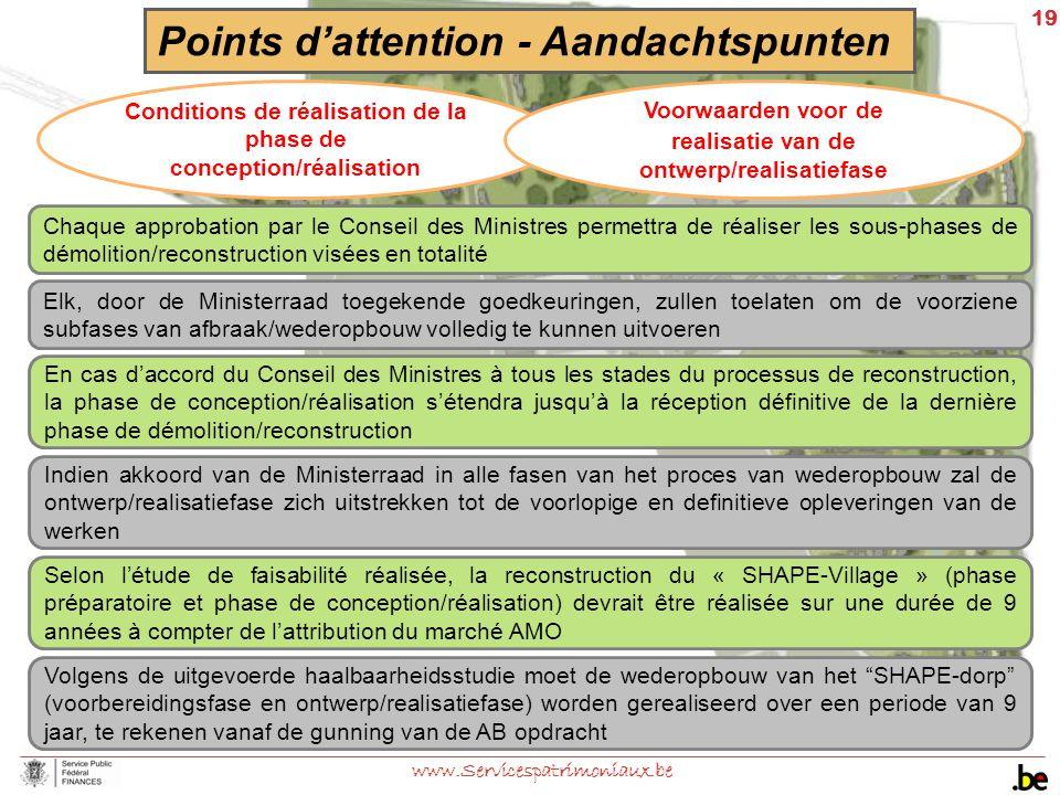 19 www.Servicespatrimoniaux.be En cas d'accord du Conseil des Ministres à tous les stades du processus de reconstruction, la phase de conception/réali