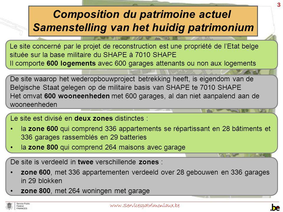 3 www.Servicespatrimoniaux.be Le site est divisé en deux zones distinctes : la zone 600 qui comprend 336 appartements se répartissant en 28 bâtiments