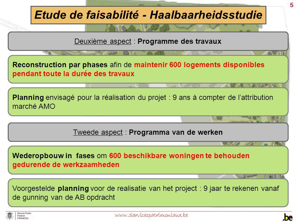 5 www.Servicespatrimoniaux.be Reconstruction par phases afin de maintenir 600 logements disponibles pendant toute la durée des travaux Etude de faisab