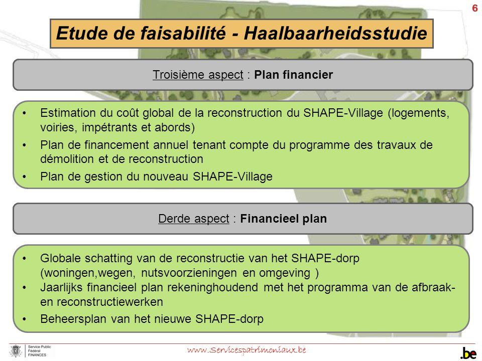 6 www.Servicespatrimoniaux.be Troisième aspect : Plan financier Etude de faisabilité - Haalbaarheidsstudie Estimation du coût global de la reconstruct