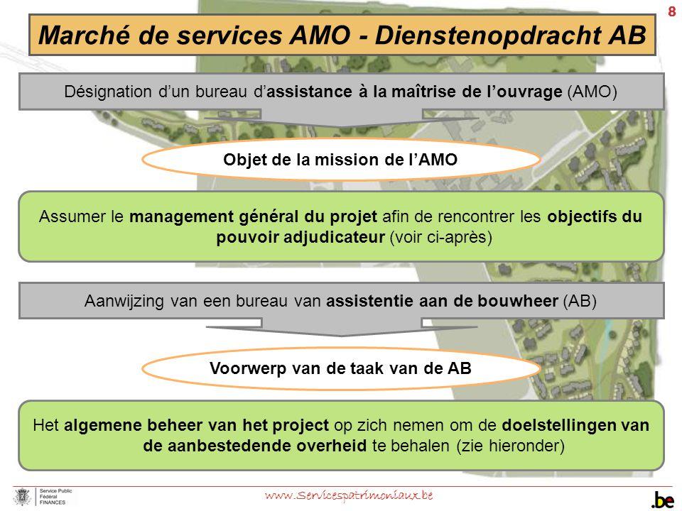 8 www.Servicespatrimoniaux.be Marché de services AMO - Dienstenopdracht AB Assumer le management général du projet afin de rencontrer les objectifs du