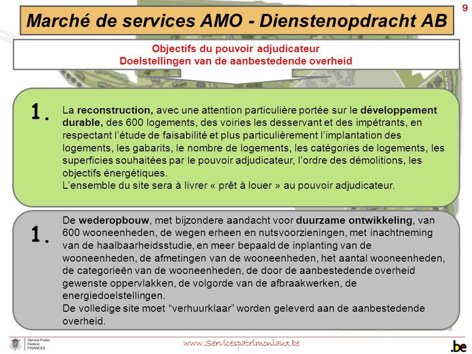 9 www.Servicespatrimoniaux.be Marché de services AMO - Dienstenopdracht AB Objectifs du pouvoir adjudicateur Doelstellingen van de aanbestedende overh